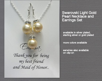 Light Gold Pearl Bridesmaid Jewelry Set, Light Gold Wedding Jewelry Set, Bridesmaid Jewelry Set, Maid of Honor Gift, Bridal Jewelry