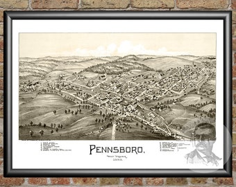 Pennsboro, West Virginia Art Print From 1899 - Digitally Restored Old Pennsboro, WV Map - Perfect For Fans Of West Virginia History