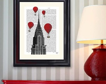 Chrysler Building & Red Hot Air Balloon Print - New York city art print New York city skyline New York print New york art air balloon décor