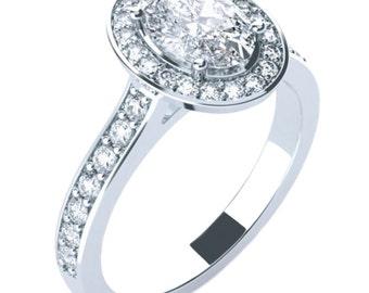 Straight Set Classy Halo Oval Engagement Ring 14K 18K Gold Platinum Palladium 7mm x 5mm (1ct), 8mm x 6mm (1.52ct), 9mm x 7mm (2.25ct)