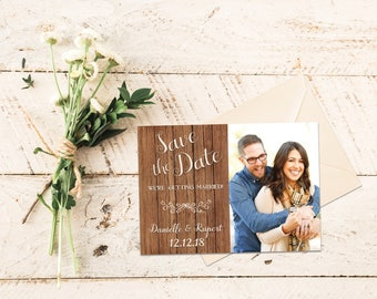 Rustic Save the Date Template, Photo Save the Date Card, Save the Date Wood, Printable Save the Date, 5x7 in PDF JPG Digital Download