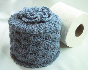 Toilet Paper Cozy w- Flower on Top - TP Cover - Cover Your Spare - Hand Crocheted - Faded Denim Blue - Acrylic Yarn - Bed & Breakfast Decor