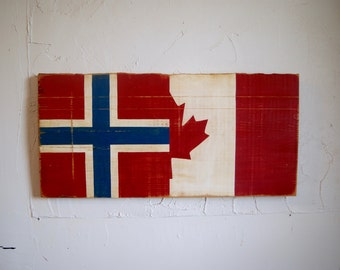 Half Norway Half Canada Flag Wood Sign - Norway flag - Norwegian sign - Canada flag - Canadian sign - split flag - old wood - rustic sign