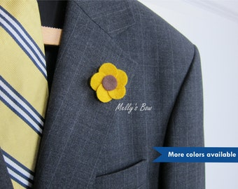 Frangipani Mens Lapel Pin - Wedding Boutonniere - Wool Felt Lapel Flower - Buttonhole - Brooch Pin