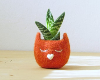 Personalized planter / Cat  / Small succulent pot / Felt succulent planter / cat lover gift