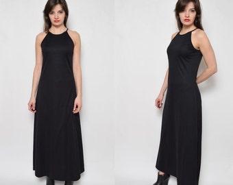 Vintage 90's Black Maxi Long Sleeveless Dress