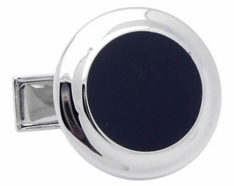 Black Classic Round Cufflinks