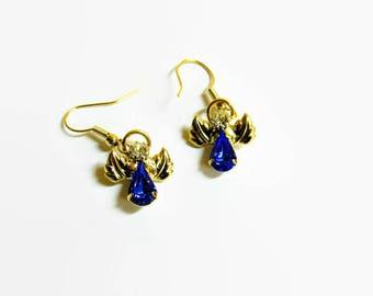 Angel Earrings, Vintage Earrings, Swarovski Crystal Earrings, Guardian Angel Earrings, Spiritual Earrings, Religious Earrings, Gift For Her