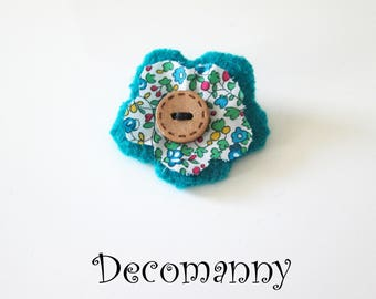 Liberty and turquoise blue felted wool flower brooch