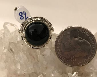 Solar Eclipse Black Onyx Ring Size 8 1/2