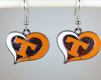 Tennessee Vols Heart Dangle Earrings