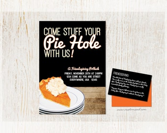 FRIENDSGIVING Pot Luck Invitation, Pie Party Invite, Thanksgiving Invitation, Holiday Gathering, Pie Cook Off, Baking Event, Friends, Baking