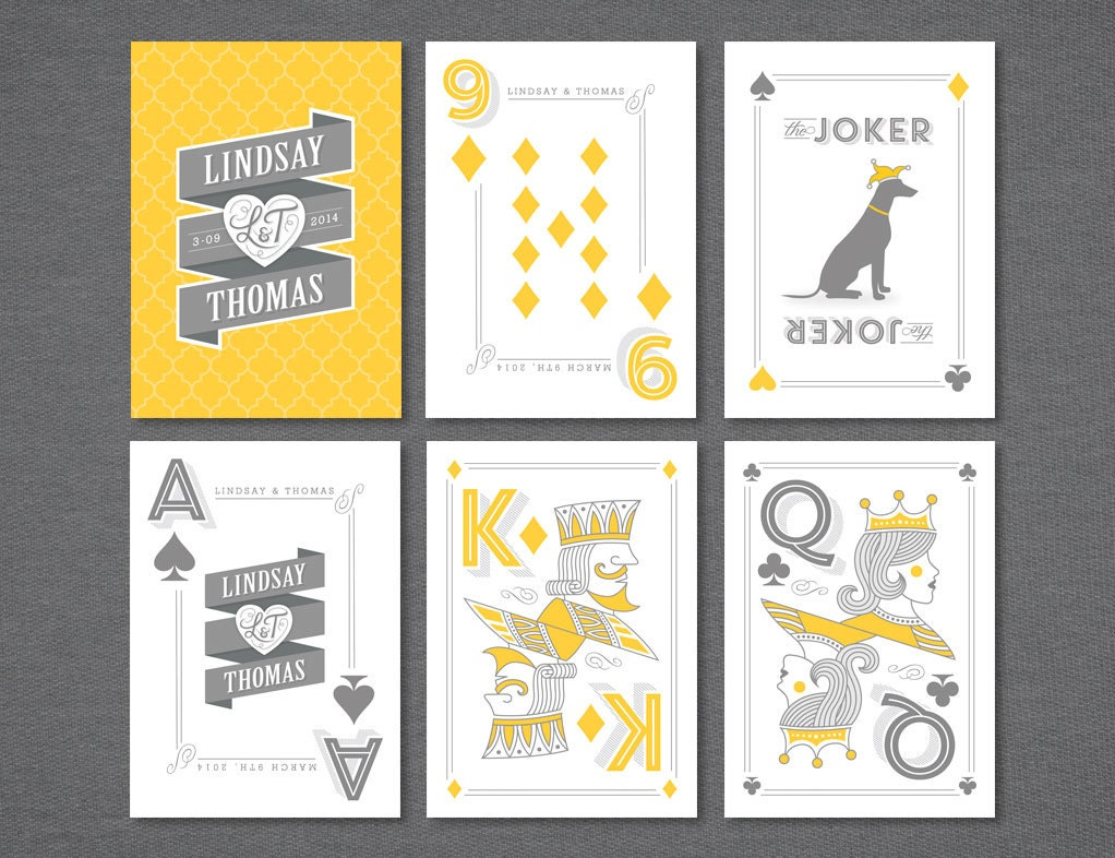 Playing Cards Wedding Favor Customized Names Date Colors