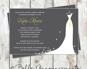 Modern Grey and Yellow Bridal Shower Invitation