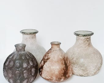 Blush Pink Spanish Frosted Glass Vases- Set of 4