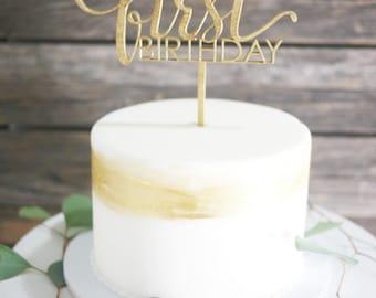 Happy First Birthday Cake Topper | First Birthday Cake Topper | Modern Calligraphy Cake Decoration | Laser Cut Wood Birthday Decor