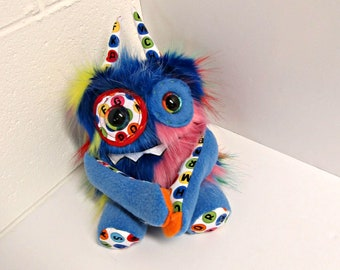 Handmade Monster Plush - OOAK Plush Monster Toy - Hand Embroidered Stuffed Monster - Blue Multi Faux Fur Monster - Cute and Weird Plush Toy