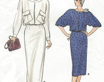 80s Womens Dolman Sleeve Dress Back Buttoned Bodice Long or Short Sleeves Vogue Sewing Pattern 9246 Size 8 10 12 Bust 31 1/2 to 34 UnCut