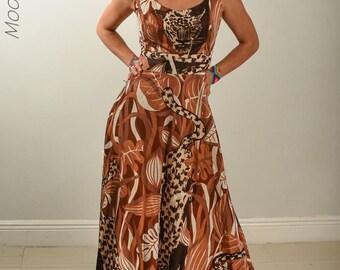 Vintage long dress leopard stunning animal print