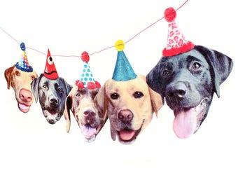 Labrador Dogs Birthday Garland - photo reproductions on felt - funny labrador retriever portraits birthday banner