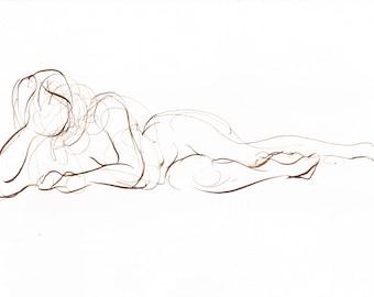 Nude Figure Drawing, Female Reclining, Original Pen and Ink Wall Art, Original Ink Nude Drawing, Pen and Ink Gesture Drawing, Michelle Paine