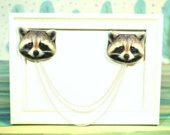 raccoon jewelry , raccoon brooch , raccoon pin ,sweater clip , collar chain , cardigan guard , collar pin , collar brooch , gift for her
