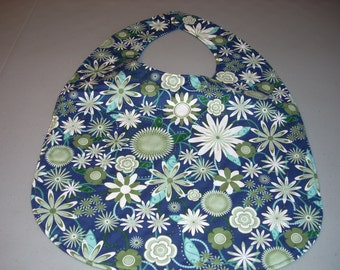 Green and White Flowers on navy Adult Size Bib / Clothing Protector - Reversible