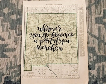New Mexico & New York | personalized calligraphy map | original vintage map | calligraphy map | custom calligraphy map
