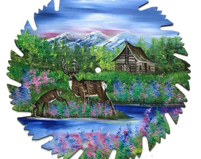Hand Painted Saw Blade Mountain Spring  Whitetail Deer Log Cabin