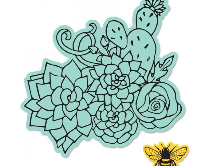 New! Sizzix Framelits Die Set 2PK w/Stamps - Floral Embellishments by Jen Long 662919