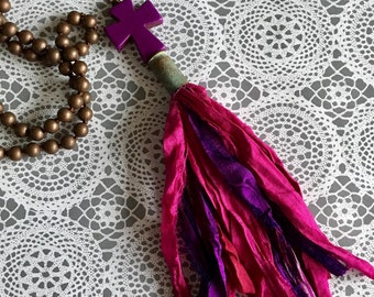 Tassel Tassle Purple and Pink Jewelry Sari Silk Bullet Casing Knotted Necklace Fair Trade Boho Shabby Chic OOAK