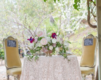 More Colors. Ivory Rosette Tablecloth ...