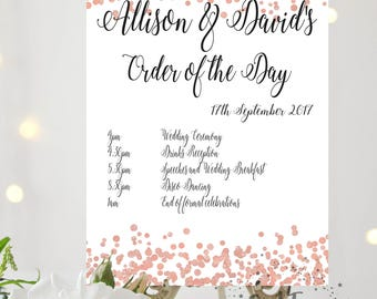 Rose Gold Confetti Wedding Order of the Day Timeline Itinerary order of service order of events Printed Wedding Schedule wedding program