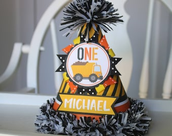 Construction Birthday Party Hat Boy - First Birthday Party Hat - Construction Dumptruck First Birthday - Boy Birthday