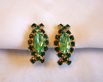 1950s Two Tone Green Rhinestone Earrings
