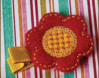 Hair Clip Felt - Orange Flower