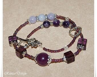 Wrap bracelet Women's bracelet amethyst bracelet for winding set with ring Seedbead bracelet wrap Women's Jewelry