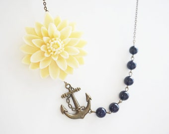 Nautical Necklace Statement Necklace Flower Necklace Lapis Lazuli Necklace Navy Blue Necklace Ivory Necklace Bridesmaid Gift Anchor Necklace