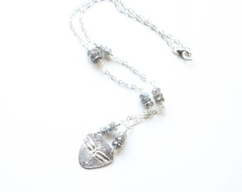 Silver Dragonfly necklace , Dragonfly, Labradorite necklace , Sterling Silver Dragonfly Necklace, Fine Silver .999