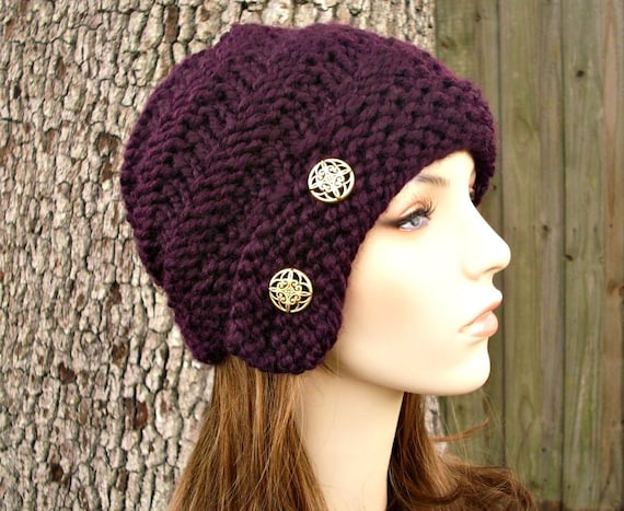 Knit Hat Womens Hat - Hybrid Swirl Cloche Hat in Eggplant Purple Knit Hat - Purple Hat Purple Beanie Womens Accessories Winter Hat