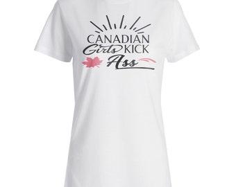 Canadian Girls Kick Ass Ladies T-shirt j479f