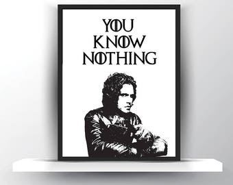 GoT Jon Snow-Game of Thrones Gift-Funny Thrones Men-Throne Birthday Gift-Thrones for Him-Thrones Art Gift-House Stark Art Thrones for Her