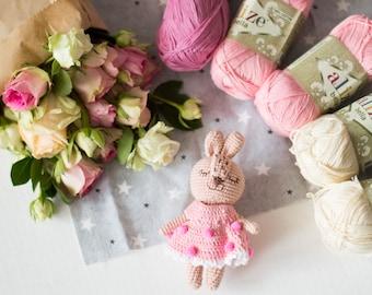 Crochet pink bunny in a dress with pom-poms,  Tiny baby Toy, Crochet miniature bunny, Amigurumi stuffed animal, Plush hare