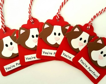 Cat Valentine Tags / Valentine's Day favor tags / Valentine's Day Gift tags / Purrfect tags / Kids valentine favor tags / valentine favors