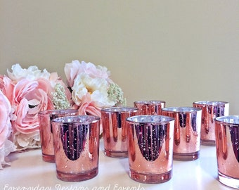 12 Rose Gold Mercury glass Votive Candle Holders, mercury glass, rose gold decor, wedding centerpiece, wedding decor, rose gold decor