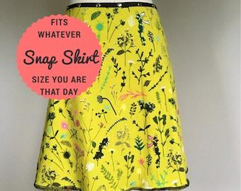 Flower Skirt, Cotton Skirt, one size, Snap Skirt, yellow Skirt, Erin MacLeod, womens skirt, adjustable skirt,