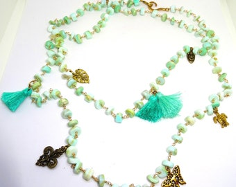 Long Amazonite, Golden charms and PomPoms