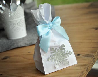 Frozen Party Favor Bags (Pack of 10). Made in 2-5 Business Days. Silver Frozen Party Supplies. Mini Party Favor Bags with Snowflake and Bows