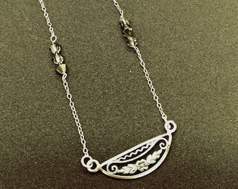 Dainty Sterling Silver Necklace with Filigree, Flower and Swarovski Crystals