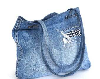 Recycled shoulder bag, Blue jean tote bag,Vegan school bag, Teens purse,Eco friendly tote,Denim shoulder purse, Jean travel bag,Shop  Canada